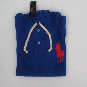 Ralph Lauren LS Blue Mesh Big Pony Mesh Hoodie